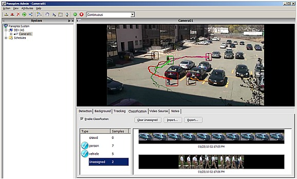 Panoptes video analytics GUI, showing the real-time analysis of a HD surveillance video stream, made possible with GPU processing.