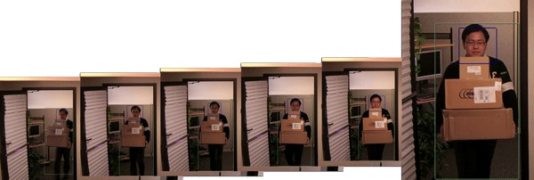 six progressive frames of an Asian man carrying a stack of boxes through a doorway.
