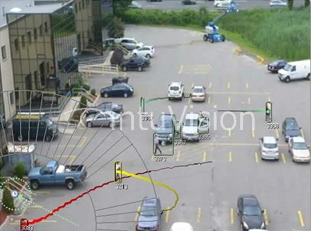 The image shows a still from a surveillance video that has been analyzed with VISA to determine the active surveillance on the individual of interest.