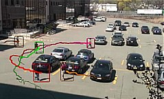 Person detections in a parking lot.