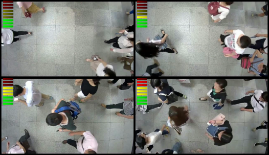 Crowd density detector with a real-time density indication of crowd level.