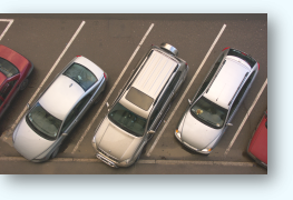 Vehicles detected as parked by intuVision VA. Direct overhead view provides optimal results.