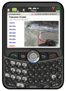 The image shows a Blackberry phone with a panoptes video analysis event on the screen.