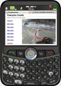 The image shows a Blackberry phone with a intuVision VA video analysis event on the screen.