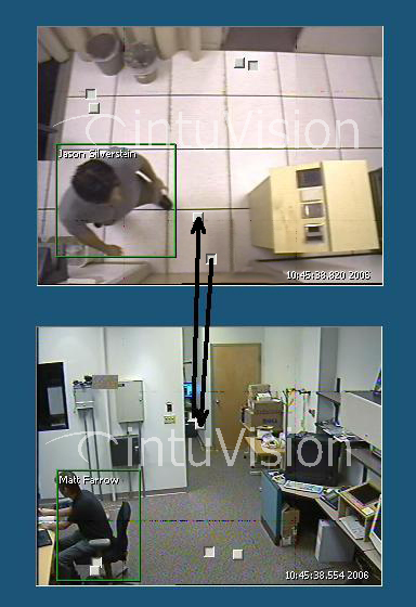 There are two different surveillance video images of different views of the same office, showing that capability of the intelligent video analysis to share metadata from the biometric access control to the cameras, thereby tracking the person.