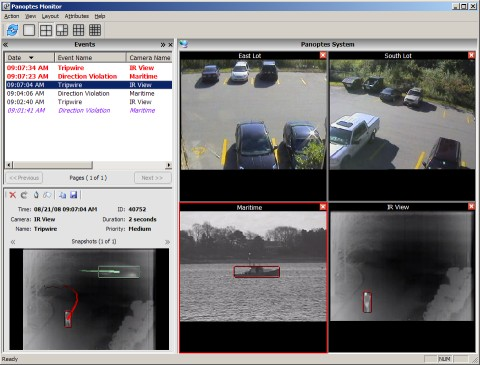 Panoptes video analytics event monitoring application user interface. It shows the real time analysis of four surviellance camera views, on one of which is a perimeter protection event that is in violation, and is therefore bound in red.