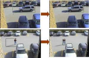 Shows video surveillance feed of a parking lot. The two images on the left have both the objects and their shadows in green bounding boxes, indicating an unsuccessful intelligent video analysis, while the same images are on the right with only the objects boxed in, showing our successful video analytics algorithms at work.